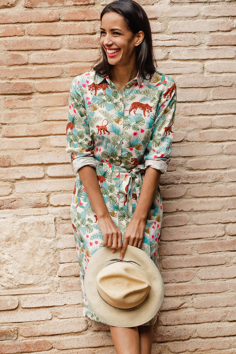 Reva Daybreak Jungle Shirt Dress #WearAndCare