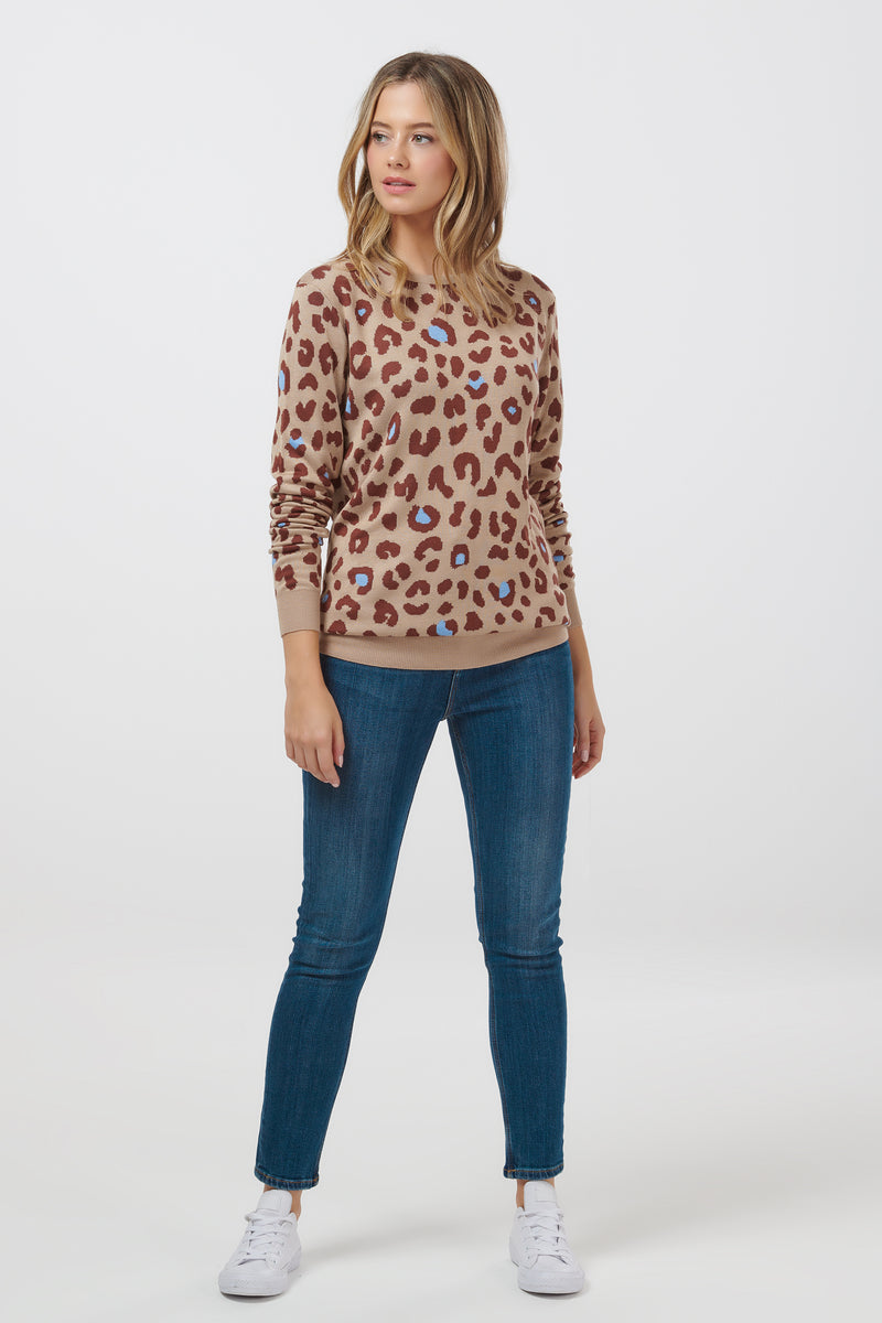 Callie Colour Spot Leopard Sweater- Stone
