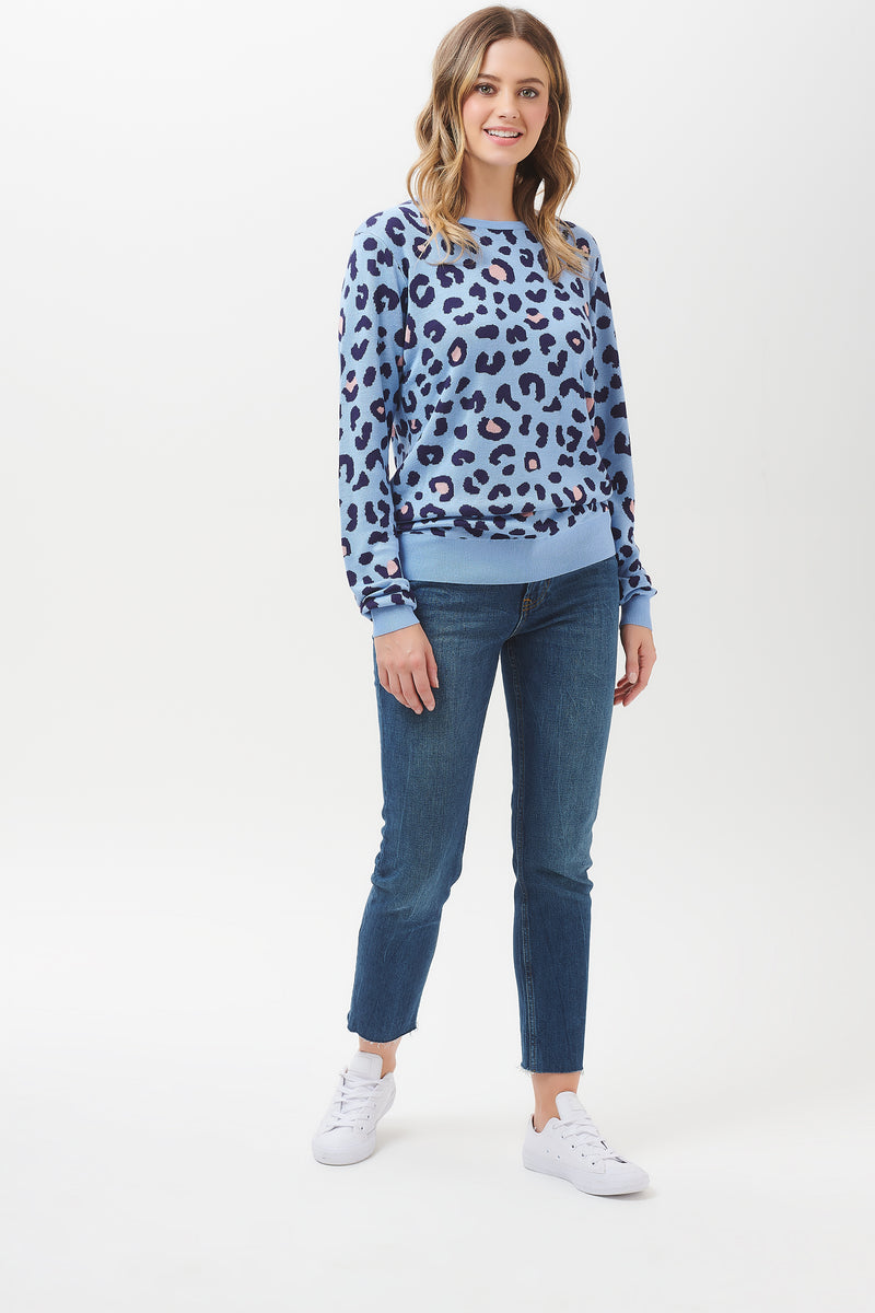 Callie Blue Colour Spot Leopard Sweater