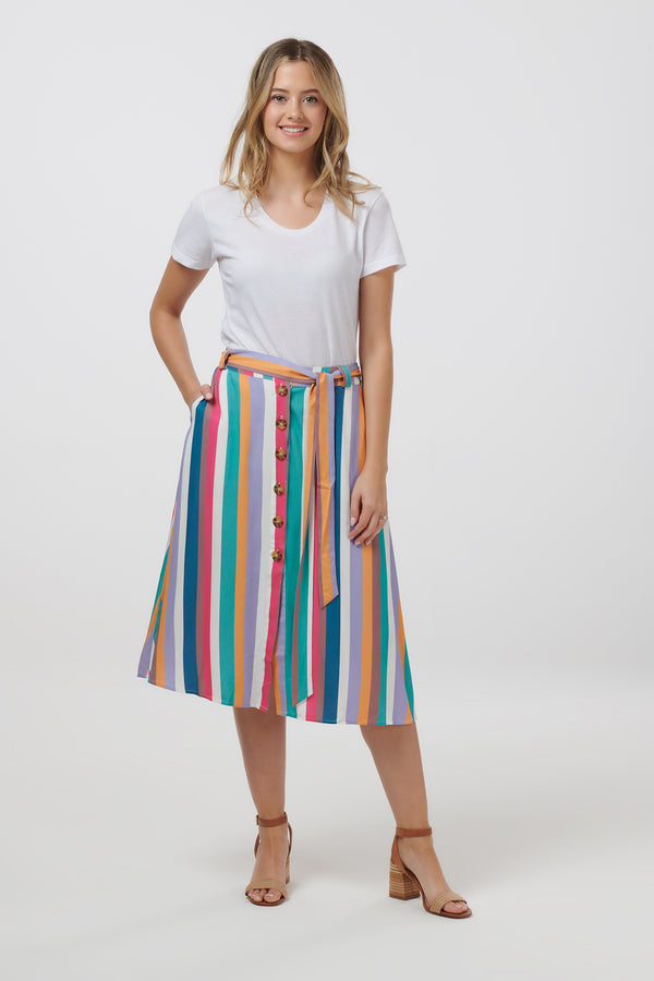 Rosanna Cruise Stripe Midi Skirt