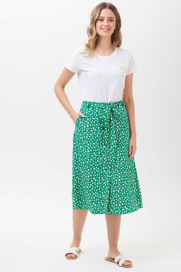 Rosanna Painterly Spot Midi Skirt