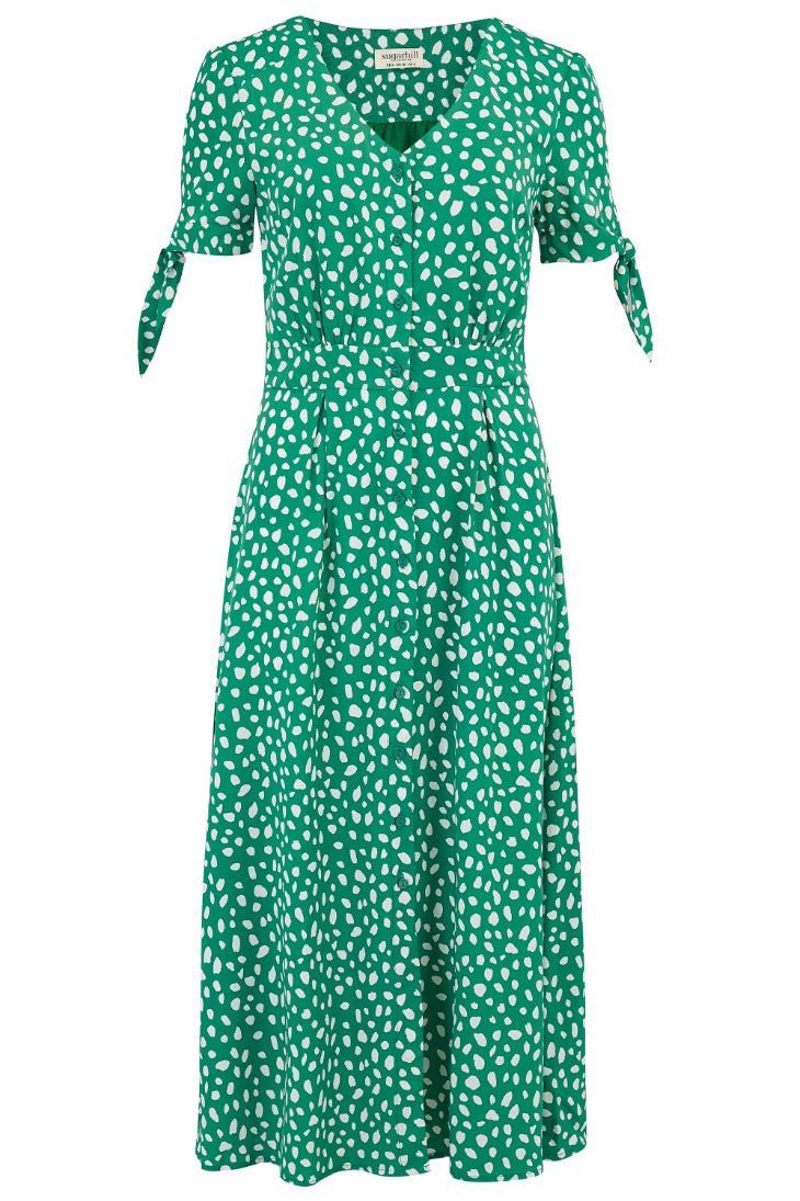 Hermione Painterly Spot Midi Dress