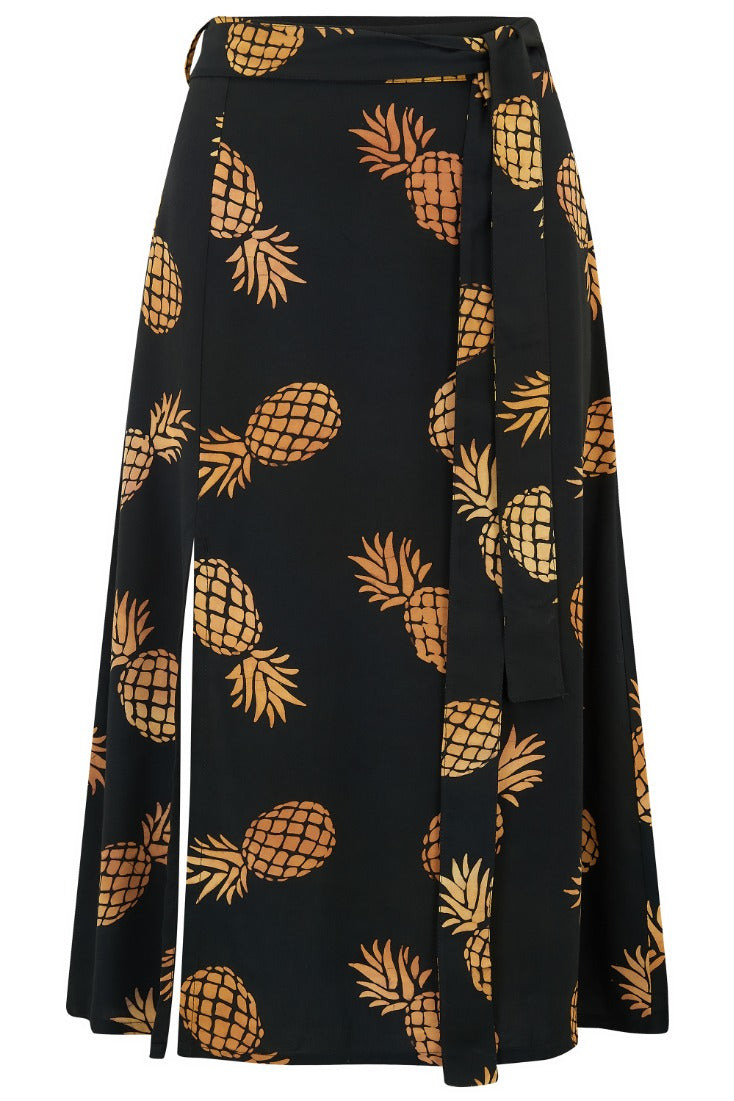 Jacinda Pineapple Batik Side Split Midi Skirt