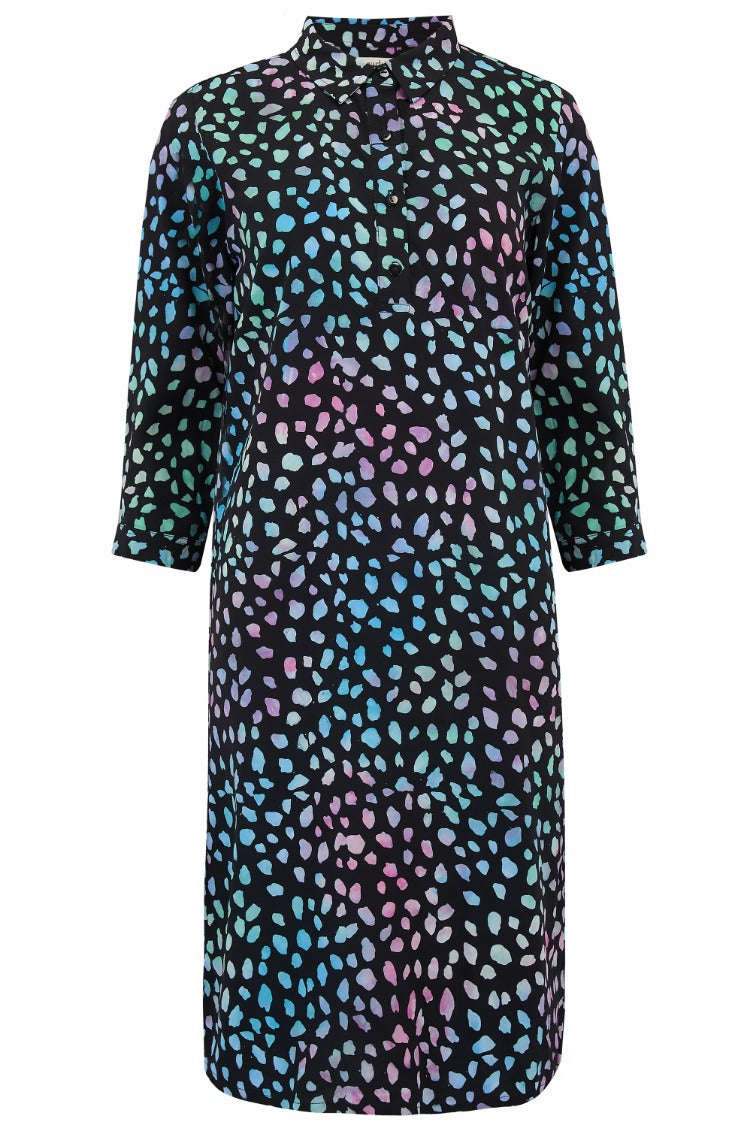 Jasmine Painterly Dot Batik Mini Shirt Dress