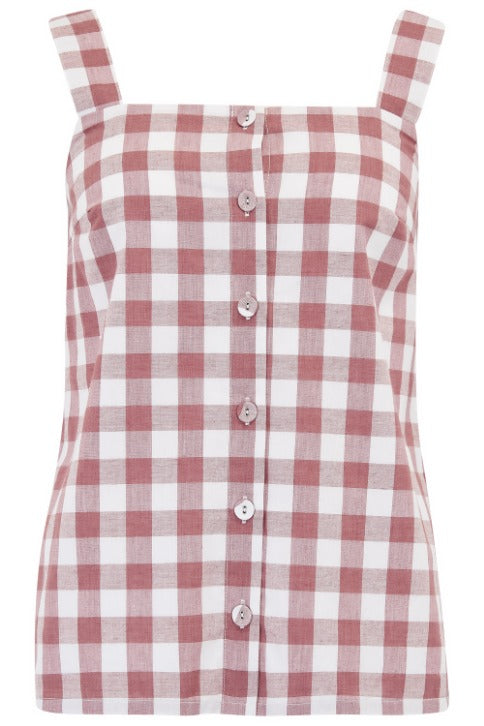 Leandra Rust Gingham Cami Top
