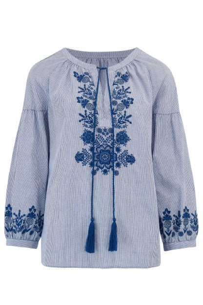 Delphi Folkloric Embroidered Boho Top