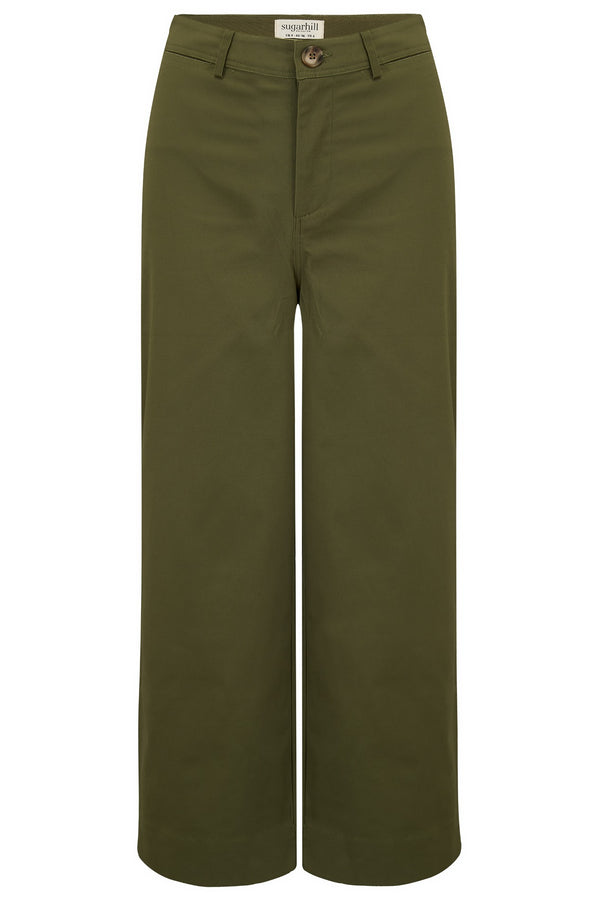 Alma Khaki Cropped Wide Leg Trouser