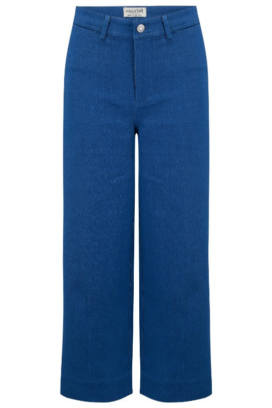 Alma Denim Chambray Cropped Wide Leg Trouser