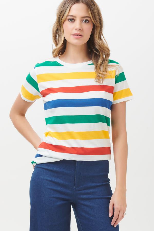 Maggie Bold Rainbow Stripe T-shirt #WearAndCare