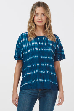 Aluna Nautical Stripe Tie Dye Button Back Top