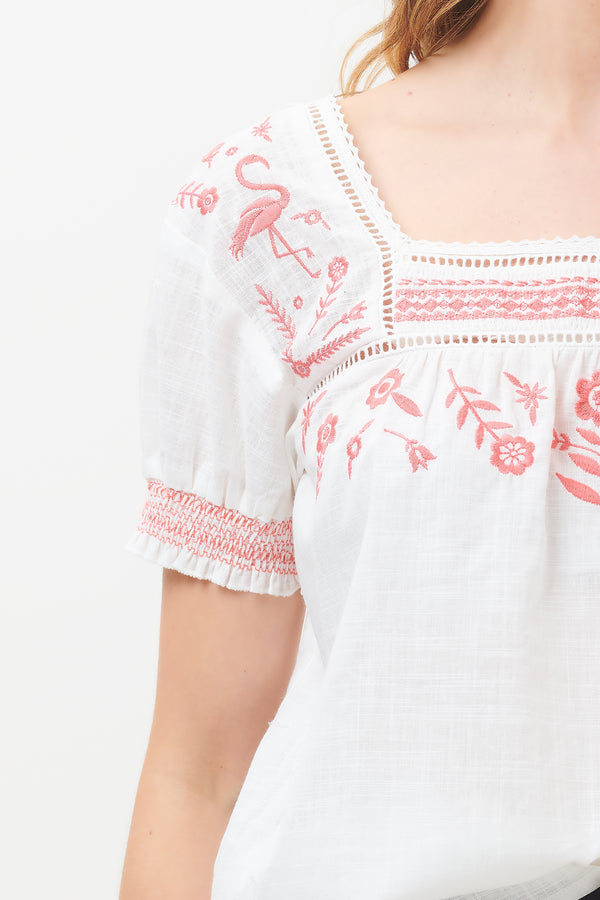 Alva Flamingo Embroidered Top