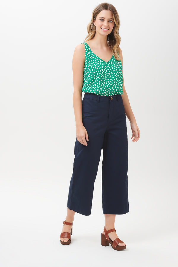 Alma Navy Cropped Wide Leg Trouser