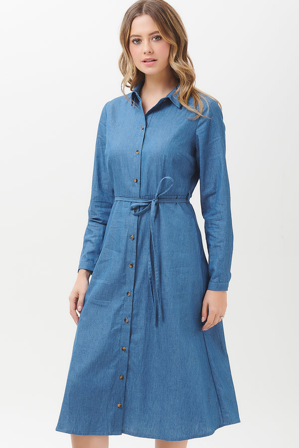 Britney Chambray Shirt Dress