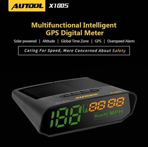 AUTOOL X100S HUD GPS Head Up Display with Solar Panel Digital Speedometer Car Headup Auto Safe Warning Altitude Diagnostic Tool