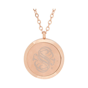 Serina & Company Stainless Steel Rose Gold Sunflower Crystal Pendant