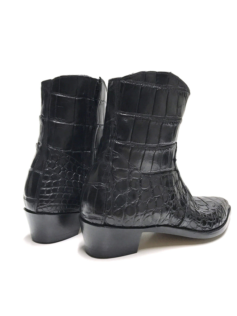 Genuine Black Leather Salt Water Crocodile Skin Rocker Boots by AJT Jewellery Limited Edition - AJT Jewellery