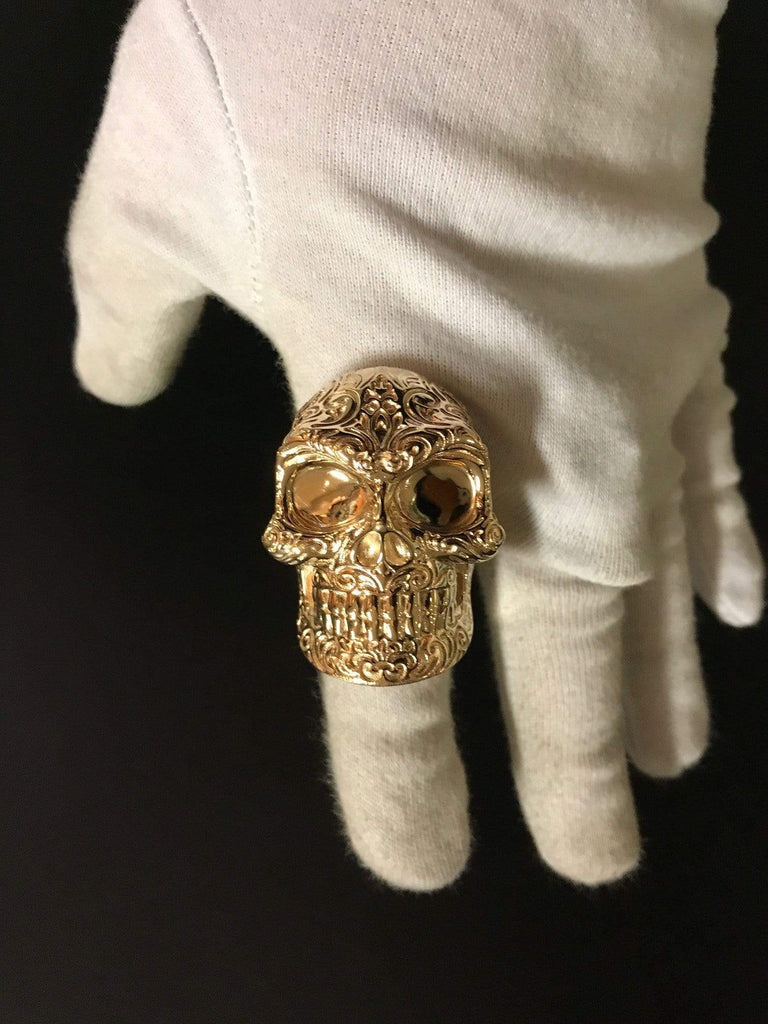 Solid 9kt Yellow Gold Regal Skull Ring - AJT Jewellery