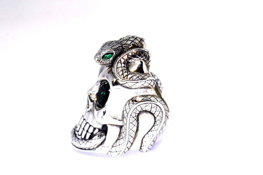 Snake Eyes Skull Ring - AJT Jewellery