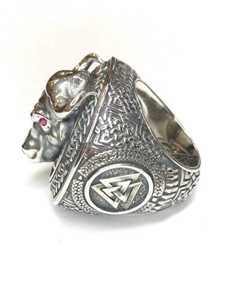 Bull Viking Signet Ring-Ring-AJT Jewellery