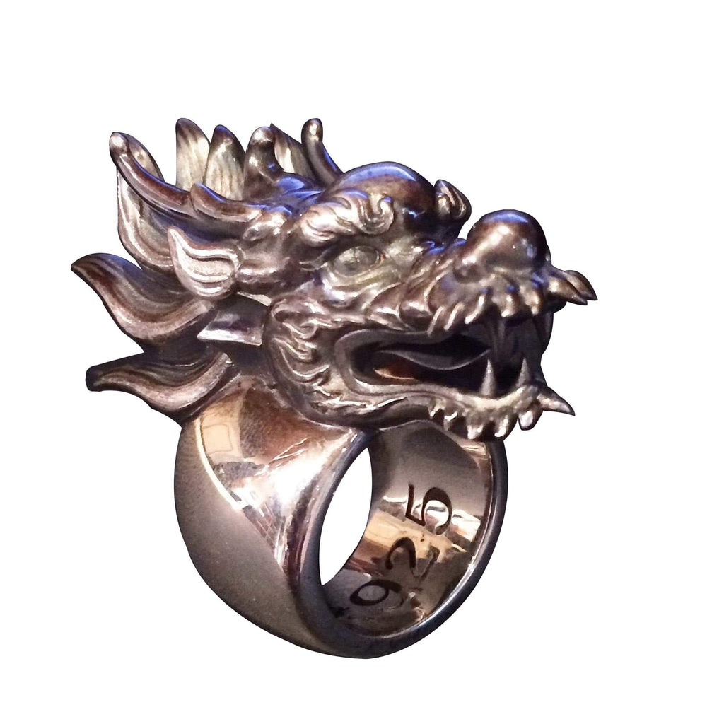 Chinese Dragon Silver Ring-Ring-AJT Jewellery
