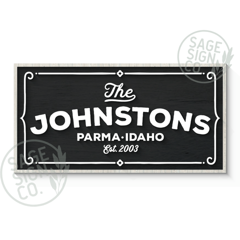 Framed Parma Personalized Sign - Whitewash with Black and White - Flash Sale