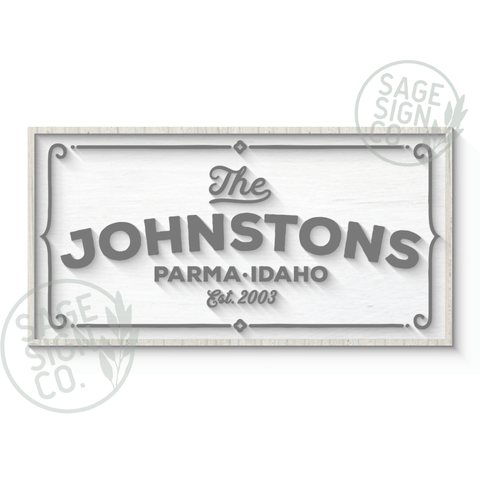 Framed Parma Personalized Sign - Whitewash with White and Soft Grey - Flash Sale