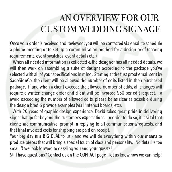 Custom Wedding Package - 6 signs - SageSignCo