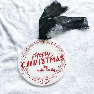 Personalized Merry Christmas Wreath Ornament