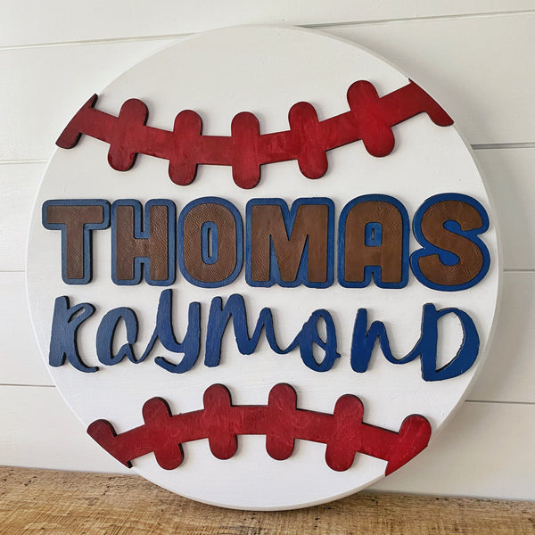 Personalized Baseball Sign with Lasercut Wood + Leather Inset - SageSignCo