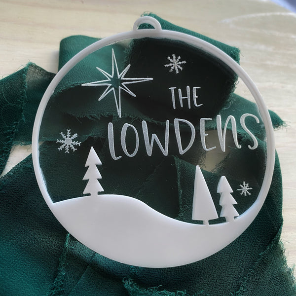 Personalized Winterscape Double Layer Ornament