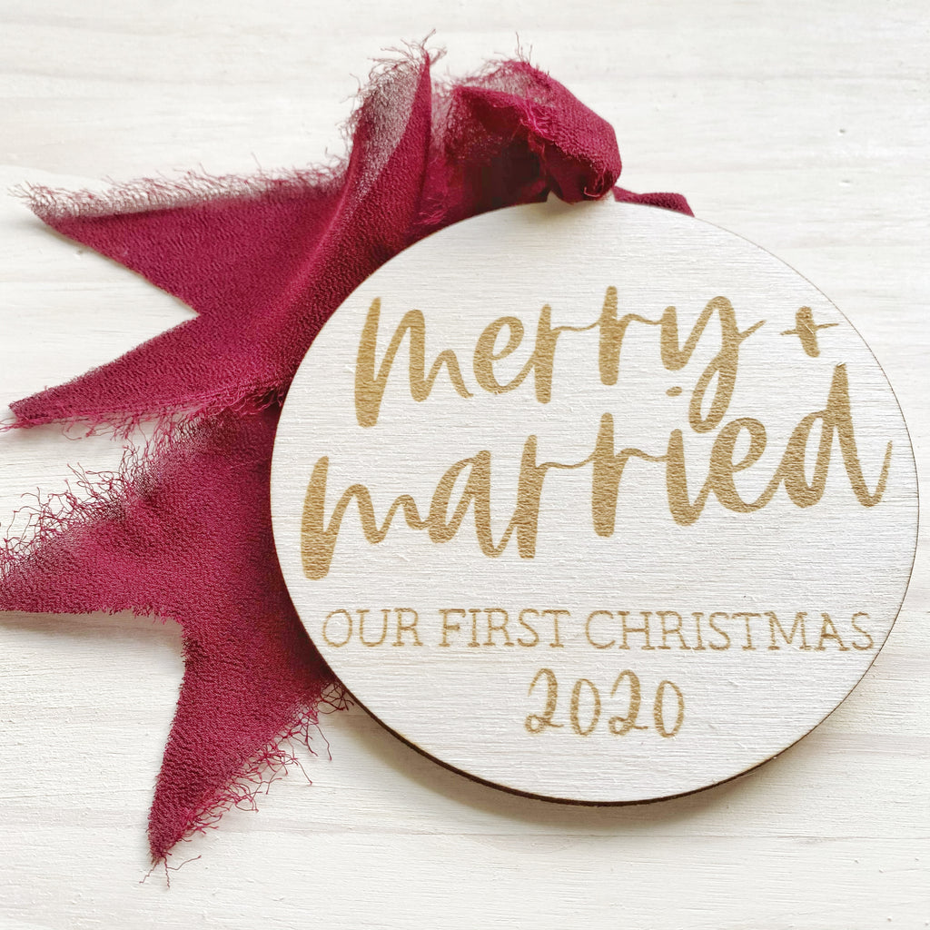 Merry + Married Our First Christmas 2020 Ornament