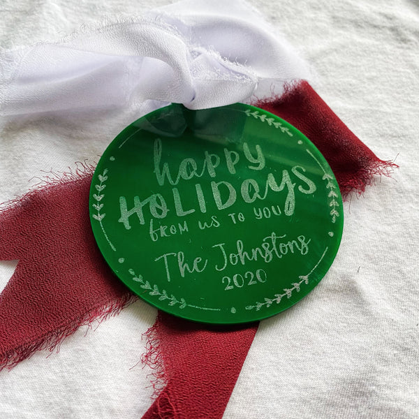 Personalized Happy Holidays From Us To You Ornament
