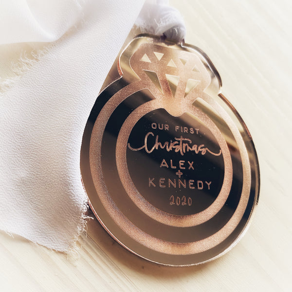 Personalized Our First Christmas Ring Ornament