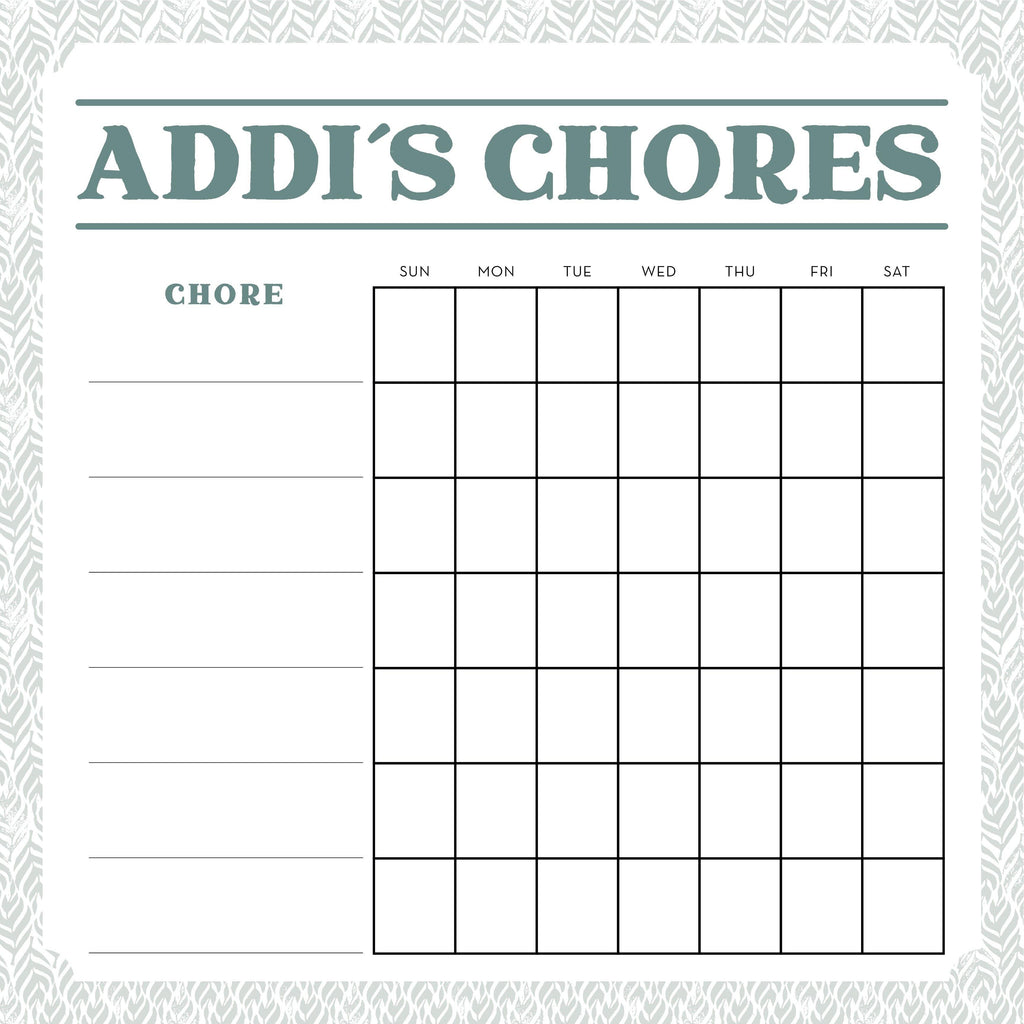 Chore Tracker - Biscayne with Patterned Border - SageSignCo