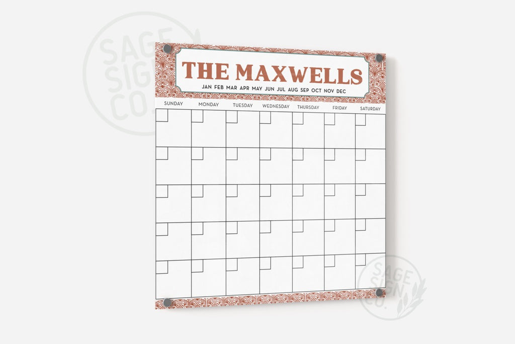 The Classic Calendar - Biscayne with Patterned Border