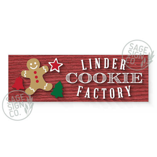 Lasercut Personalized Cookie Factory Plank (add on for frame)