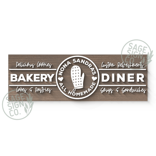 Lasercut Personalized Diner Sign (With Or Without Frame)