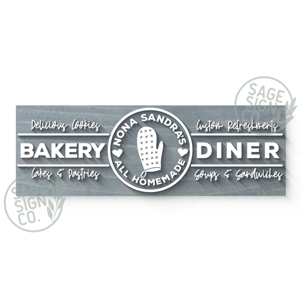 Lasercut Personalized Diner Sign (With Or Without Frame) - SageSignCo