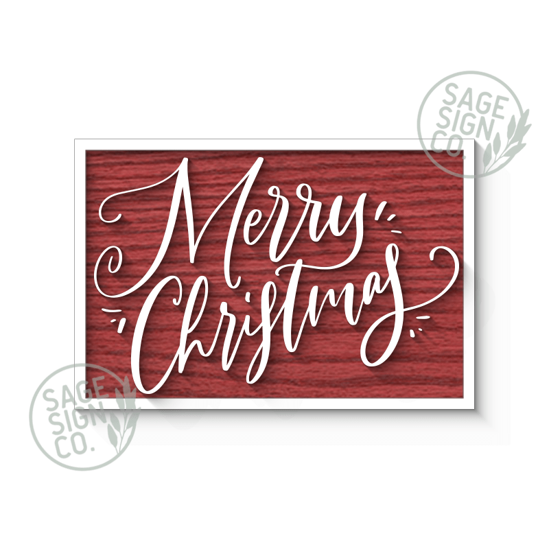 Handscript Merry Christmas (With Or Without Frame) - SageSignCo