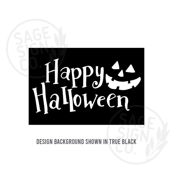 Printed Happy Halloween with Jack-o'-lantern - SageSignCo