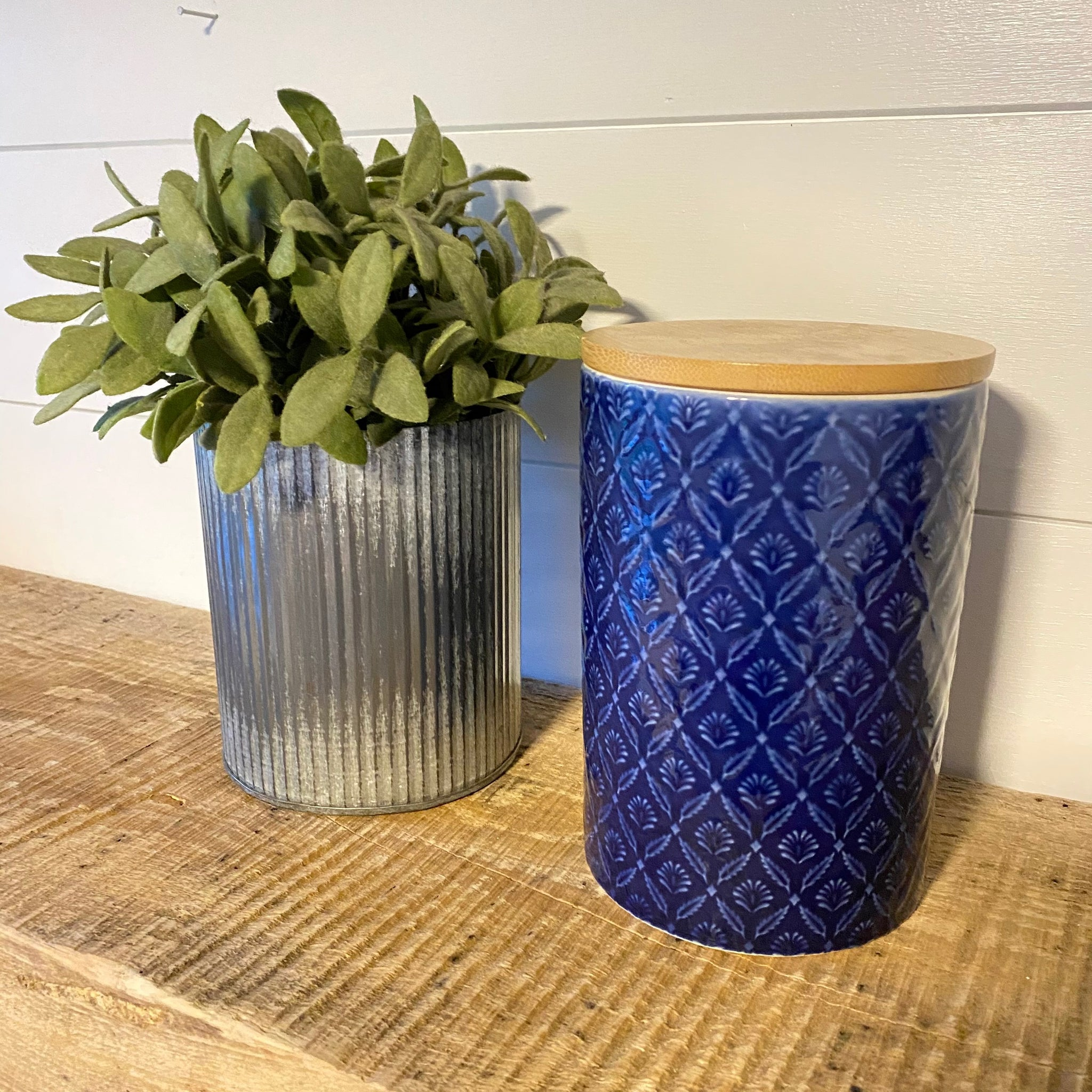 Indigo Pattern Ceramic Canister with Bamboo Lid - Engraved