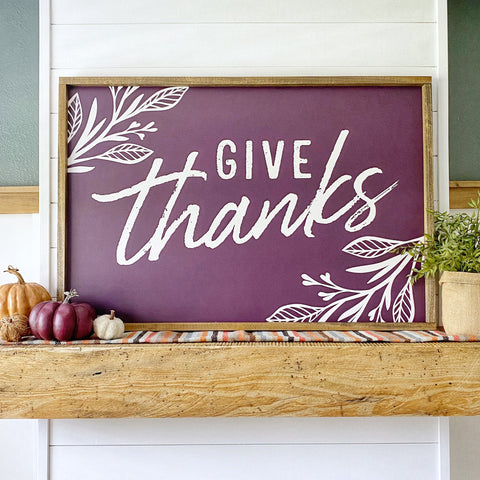Printed Give Thanks with Leaf Detail - SageSignCo