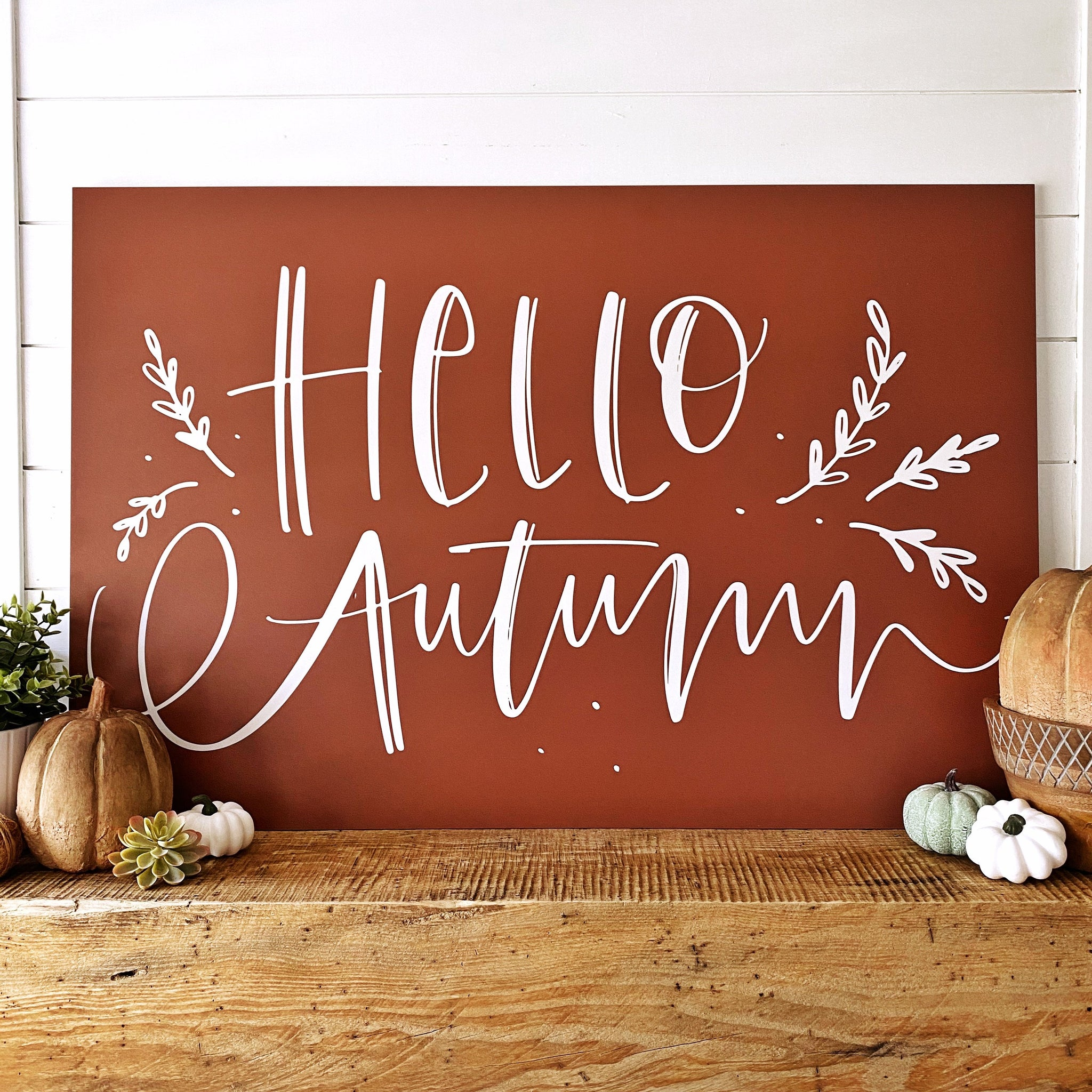 Printed Hello Autumn with Sprigs - SageSignCo