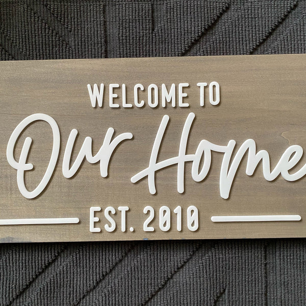 VIP Welcome to Our Home with Established Year Sign - Sophisticated Farmhouse Style - SageSignCo