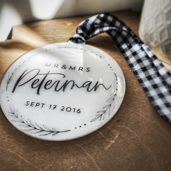 Personalized Farmhouse Globe Ornament