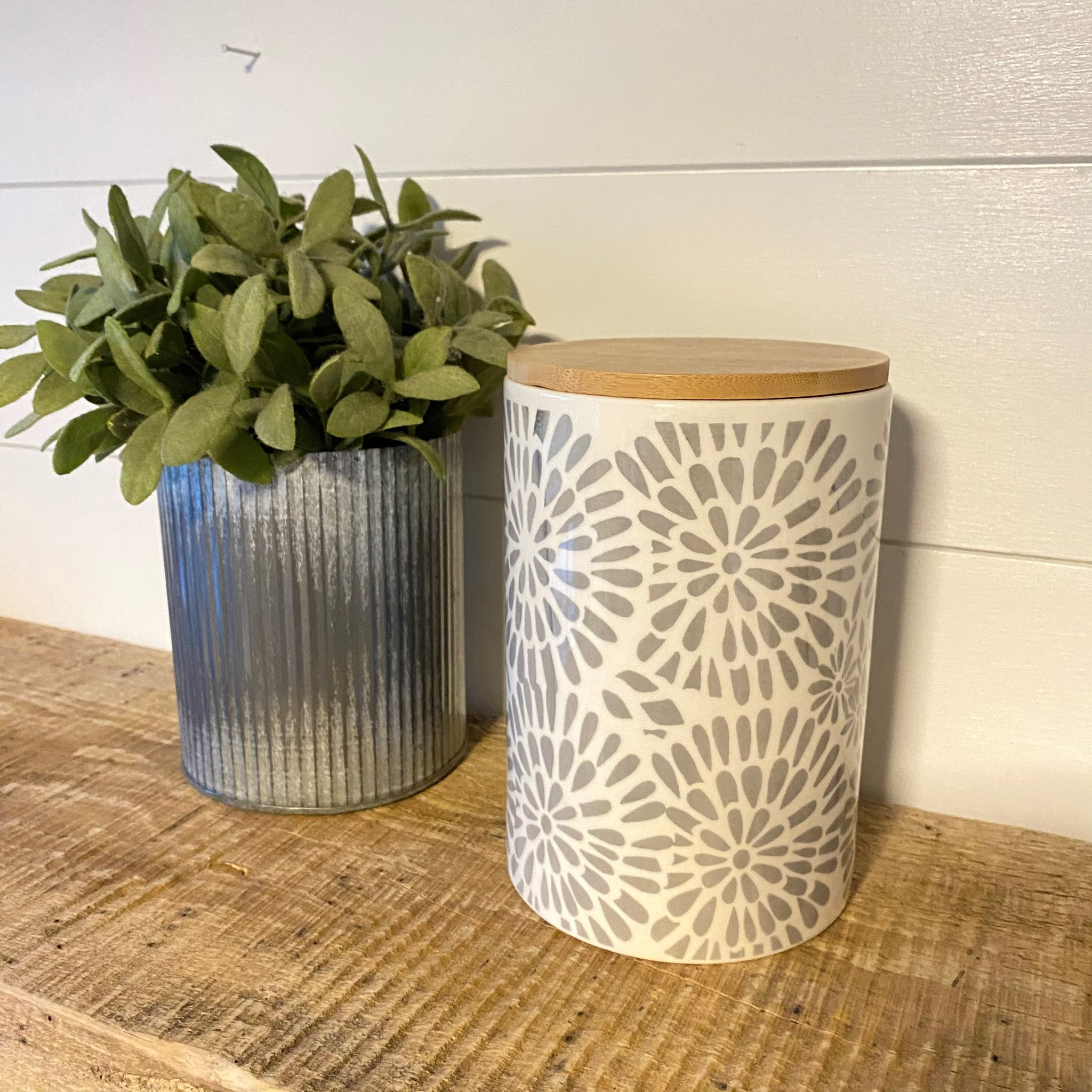 White & Grey Pattern Ceramic Canister with Bamboo Lid - Engraved