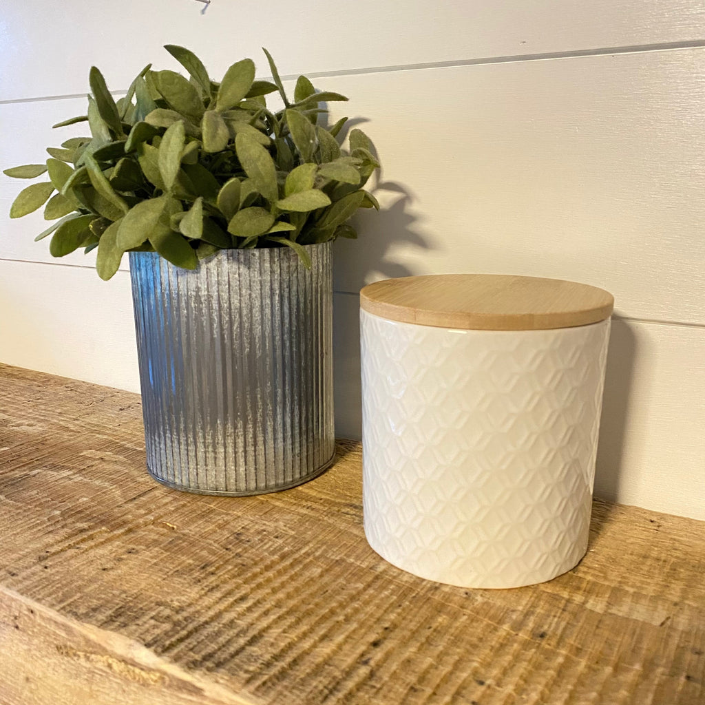 White Pattern Ceramic Canister with Bamboo Lid - Engraved