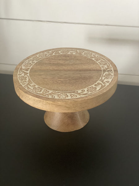 Petite Cake Stand with Floral Carving - Engraved