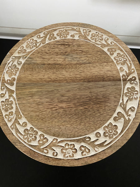 Petite Cake Stand with Floral Carving - Engraved - SageSignCo