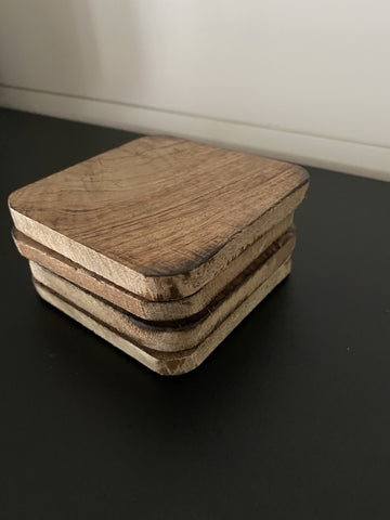 Rustic Wood Coaster Set - Engraved